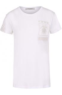 Хлопковая футболка с вышивкой бисером Valentino