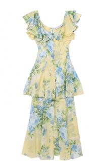 Приталенное платье с оборками и цветочным принтом Alice McCall