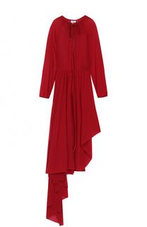 Приталенное платье-миди асимметричного кроя с укороченным рукавом Vetements