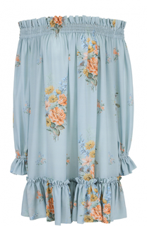 Шелковое платье с открытыми плечами и цветочным принтом Alexander McQueen