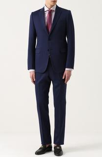 Хлопковый костюм с пиджаком на двух пуговицах Armani Collezioni