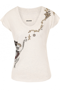 Хлопковая футболка с контрастной вышивкой Zadig&Voltaire Zadig&Voltaire