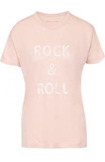 Льняная футболка прямого кроя с контрастной надписью Zadig&Voltaire Zadig&Voltaire