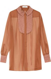Полупрозрачная шелковая блуза свободного кроя Valentino