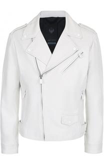 Кожаная куртка с косой молнией и декоративной отделкой Frankie Morello