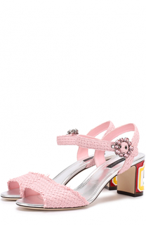 Плетеные босоножки Keira на каблуке с декором Dolce & Gabbana