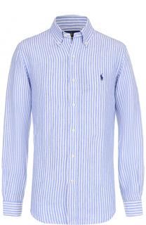 Льняная рубашка в клетку с воротником button down Polo Ralph Lauren