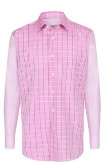 Хлопковая рубашка в клетку с воротником кент Canali