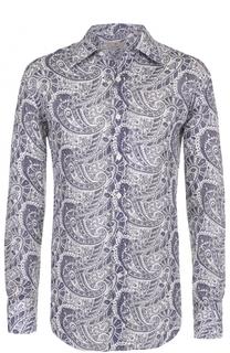 Льняная рубашка с узором пейсли Canali