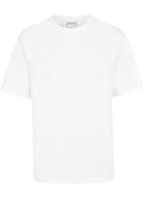 Хлопковая футболка свободного кроя с контрастной отделкой Moncler