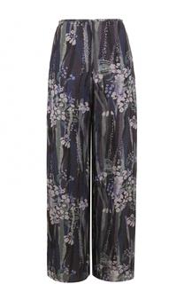 Шелковые брюки прямого кроя с цветочным принтом Giorgio Armani