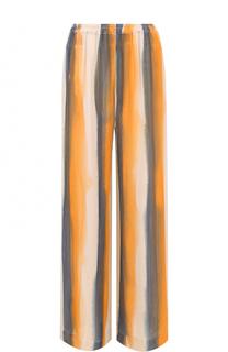 Шелковые брюки прямого кроя в полоску Raquel Allegra