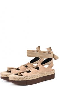 Замшевые сандалии с лентами на щиколотке Paloma Barcelo