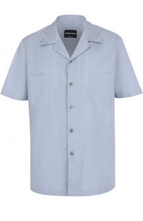 Хлопковая рубашка с короткими рукавами Giorgio Armani