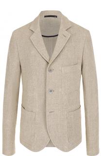 Льняной однобортный пиджак Giorgio Armani