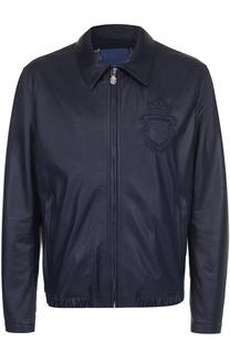 Кожаная куртка на молнии с отложным воротником Billionaire