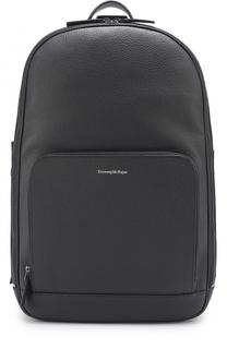 Кожаный рюкзак с внешним карманом на молнии Ermenegildo Zegna