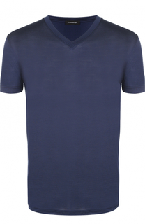 Шелковая футболка с V-образным вырезом Ermenegildo Zegna