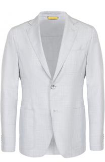Однобортный пиджак из смеси шерсти и шелка Canali