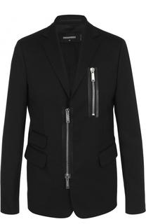 Шерстяной приталенный пиджак на молнии Dsquared2