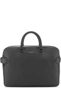 Кожаная сумка для ноутбука с двумя отделениями на молнии Ermenegildo Zegna