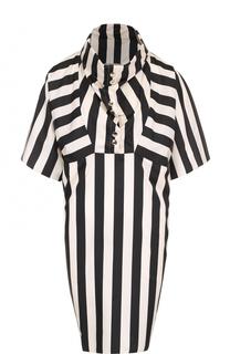 Шелковое мини-платье в контрастную полоску Nina Ricci