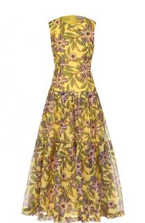 Хлопковое платье-миди с цветочным принтом REDVALENTINO
