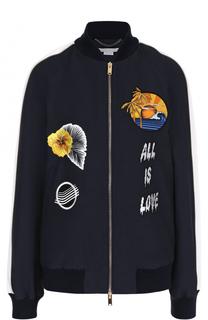 Бомбер на молнии с контрастной вышивкой Stella McCartney