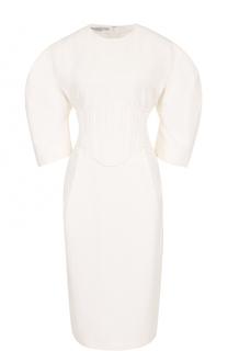 Приталенное платье-миди с рукавом-фонарик Stella McCartney