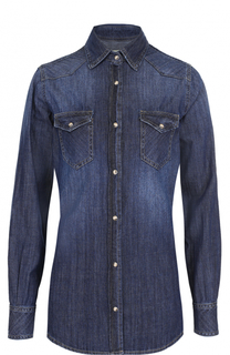 Джинсовая блуза прямого кроя с накладными карманами Two Women In The World