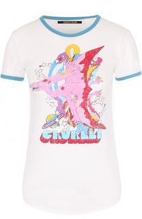 Облегающая футболка с ярким принтом Roberto Cavalli