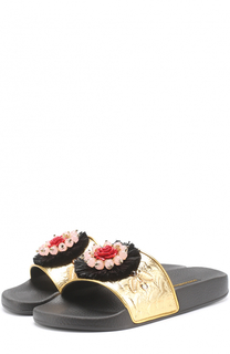 Комбинированные шлепанцы с аппликацией Dolce & Gabbana