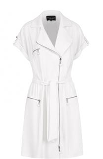 Платье-рубашка с косой молнией и поясом Giorgio Armani