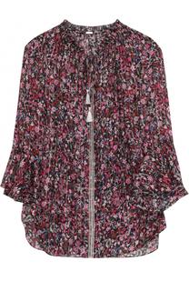 Шелковая блуза на кулиске с цветочным принтом Elie Tahari