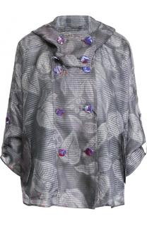 Шелковая куртка свободного кроя с капюшоном Giorgio Armani