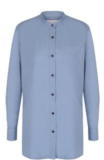Блуза с накладным карманом и воротником-стойкой Dries Van Noten