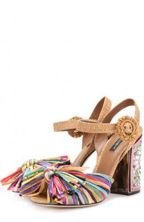 Босоножки Keira с бахромой и кристаллами Dolce & Gabbana