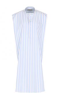 Платье в контрастную полоску с воротником-стойкой Balenciaga