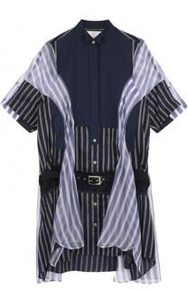 Шелковое платье-рубашка в полоску Sacai