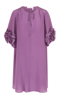Шелковое платье прямого кроя с оборками See by Chloé