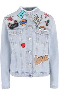 Джинсовая куртка с воротником-стойкой и нашивками Ermanno Scervino