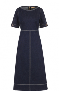 Джинсовое платье-миди с контратснйо прострочкой Fay