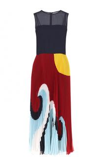 Платье-миди с принтованной плиссированной юбкой REDVALENTINO