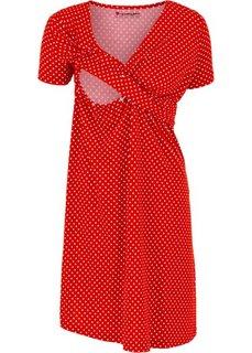 Мода для беременных и кормящих мам: трикотажное платье-стретч с коротким рукавом (клубничный/белый в горошек) Bonprix