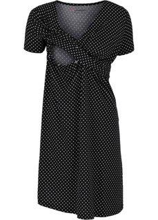 Мода для беременных и кормящих мам: трикотажное платье-стретч с коротким рукавом (черный/белый в горошек) Bonprix