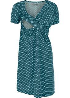 Мода для беременных и кормящих мам: трикотажное платье-стретч с коротким рукавом (сине-зеленый/пастельная аква в горошек) Bonprix