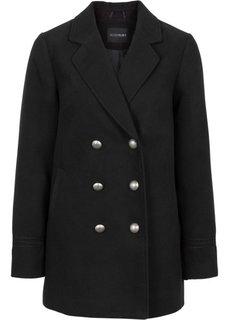 Укороченное пальто с металлическими пуговицами (черный) Bonprix
