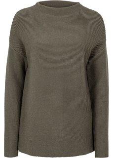Пуловер укороченного дизайна (темно-оливковый) Bonprix