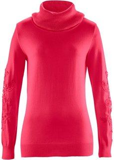 Пуловер с вязаным кружевом ПРЕМИУМ (темно-красный) Bonprix