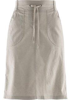 Льняная юбка на поясе в резинку (натуральный камень) Bonprix